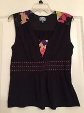 Plenty by Tracy Reese Woman's Sleeveless Top - Black/ Multi - Size Medium - NWOT