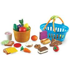 Food Play Set Deluxe Market Shopping Basket 32 Pc Kitchen Kids Toddler Gift New