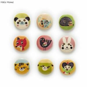 White Natural 2 Hole Mixed Animal Cartoon Round Wood Buttons Home Sewing Decors