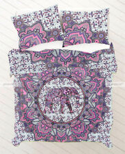 Indian Elephant Mandala Duvet Cover Set Pink & White Queen Cotton Doona Cover *