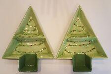 CHRISTMAS Holiday Wonderland TWO Divided Ceramic CHRISTMAS TREE Server Bowls