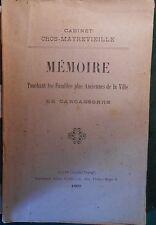 CROS-MAYREVIEILLE, Mémoire touchant les Familles plus Anciennes de Carcassonne.
