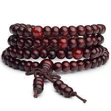 Stretch Strap 6mm Dia Beads Sandalwood Prayer Necklace Burgundy LW