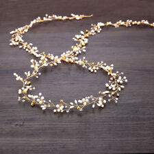 Women Bride Wedding Crystal Pearl Hair Head Band Garland Flower Headband Decor