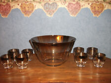 "Vtg. 9 Pc. ""Dorothy Thorpe"" Silver Fade Punch Bowl Set- Footed Glasses"