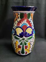"MEXICAN TALAVERA POTTERY FOLK ART VASE  12"" T X 20"" DIA. COLORFUL FLORAL FLOWERS"
