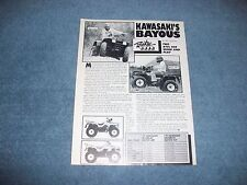 "1991 Kawasaki Bayou KLF300 Vintage Info Article ""Two ATV's for Work and Play"""