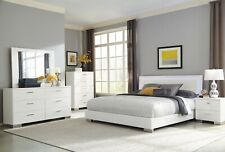 4 PC WHITE LED LIGHTS KING BED NIGHTSTAND DRESSER MIRROR BEDROOM FURNITURE SET