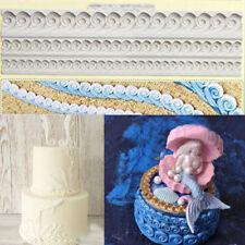 Relief Wave Sea Swirl Silicone Fondant Mould Cake Border Decorating Sugar Mold
