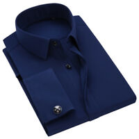 Mens French Cuff Shirts Business Slim Long Sleeve Dress Cotton Multicolor Shirts