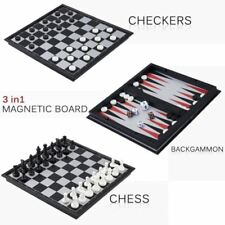 3 in 1 Folding Magnetic Chess Board Games House Set Toy Backgammon Checkers