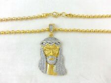 "Real 18k Yellow Gold Filled Stardust Jesus Head Face Bead Chain Necklace 30"" 4mm"
