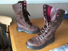 Dr Martens 1914 brown triumph plaid boots UK 4 EU 37 punk biker tartan