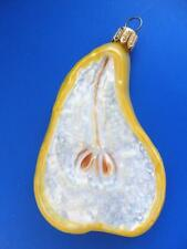 PEAR SLICE EUROPEAN BLOWN GLASS CHRISTMAS ORNAMENT HOLIDAY FRUIT