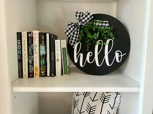 Farmhouse Style Home Decor Black Hello Wood Circle Plate Sign Rustic Mantle