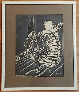 VINTAGE MOTHER & CHILD WOODCUT ETCHING ART 1960 OLD LITHOGRAPH BLACK & WHITE