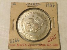 Silver Plata 1 Un Peso Mexico Mexican 1957 Centennial of Constitution