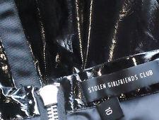 STOLENgirlfriendsCLUB BlkFlaredLinedWetLook Sz10$220
