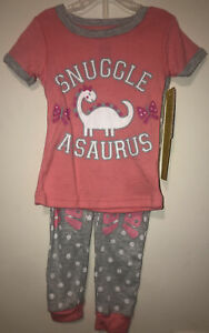 New Girls 2T Glitter Dinosaur Pajama Set Snuggle A-Saurus