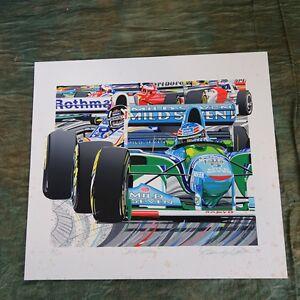 Michael Schumacher Randy Owens, Signed, 30/160, 1995, Unframed (boarder Stains)