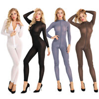 Sexy Women Mesh Sheer Body Stocking Long Sleeve Full Bodysuit Nightwear Lingerie