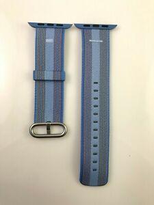 Original Apple Watch Series 7 Woven NYLON Band 42MM 44MM 45MM Tahoe Blue stripe
