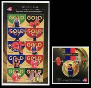 Philippines – 2021 Tokyo Olympics, Gold Medalist Hidilyn Diaz MS/10 + Souv Sheet