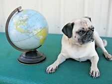 1950's Vintage Replogle Metal Globe 8 Inch Gustav Brueckmann Cartographer