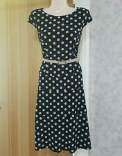 ANNE KLEIN BLACK/CREAM SPOT FIT & FLARE DRESS SIZE UK 12 BNWT