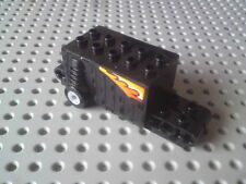 Lego Technic Motor Pull Back Spring 4x9x2&2/3 + Flame Stickers - Black x1