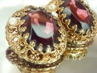Nice Ornate Germany Purple Rhinestone Gold Tone Clip Earrings Vintage 50s 114M0