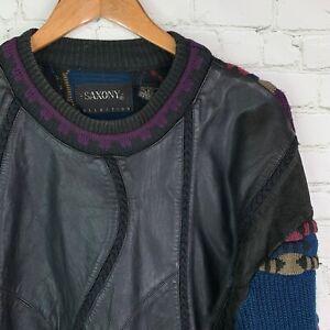 Men's Vintage Saxony (L) Leather 80's 90's Biggie Coogie Style Heavy Sweater