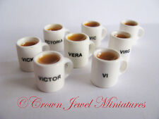 1:12 Initial V Personalized DOLLHOUSE Name Mug Coffee by Crown Jewel Miniatures