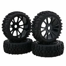 4 x RC1:8 Off Road Car Black Rhombus Rubber Tires+Dual 6 Spoke Wheel Rim