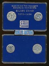 30 Drachmai 1963 & 1964 XF-AU, Greek Kings 1863-1973, 2 Silver Coins in BOX, N1