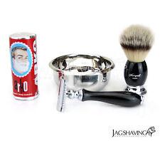 Double Edge Safety Razor Synthetic Fiber Hair Brush Beginner Set Arko Soap Bowl