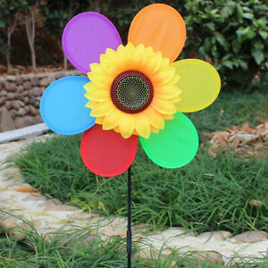 Colorful Sunflower Windmill Toy Kids DIY Outdoor Toys Garden Yard Decorat a_J Jw