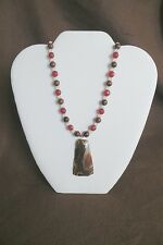 Agate Pendant, Jasper, Faceted Red Jade and White Moonstone Necklace