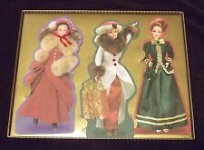 Hallmark Barbie Holiday Cards w/ Victorian Costumes WITH BOX HTF Embellished