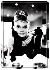 Retro Tin Metal Postcard 'AUDREY HEPBURN' Mini Sign Classic Breakfast @ Tiffanys