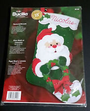 "Bucilla Santa and Wreath Felt Applique Sequin Christmas Stocking Kit 18"" 85100"