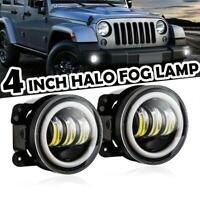 2x 4''inch LED Fog Lights Halo DRL Angel Eye Driving Lamps For Jeep Wrangler AU