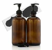 2PCS 16Oz Amber Glass Bottles with Pump Dispensers Refillable Lotion Liquid Soap