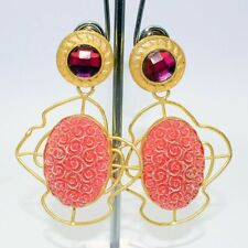 Handmade Gold Plated Earring Ge49 Multi Color Dieclo Glass Gemstones
