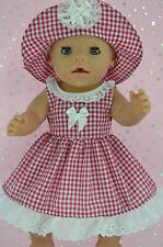 "Play n Wear Doll Clothes To Fit 17"" Baby Born  RED GINGHAM DRESS~HAT"