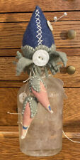 Handmade Pin Cushion Antique Bottle & Buttons Strawberry Filled w Walnut Shell