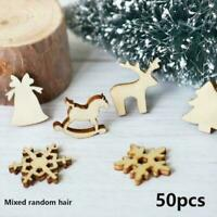 100Pcs Craft Christmas Xmas Wood Chip Hanging Tree DIY Ornaments Decor Home C2M4