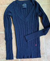 American Eagle Navy Blue Knit Long Sleeve Sweater, Size S Stretch Deep V-Neck
