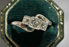 SUPERB Antique Art Nouveau / Deco 9ct GOLD Diamond Paste TRILOGY Ring STUNNER