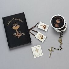 Boys Black Gold MY First Communion 5 PC Gift Set Missal Rosary Cross Pin Scapula